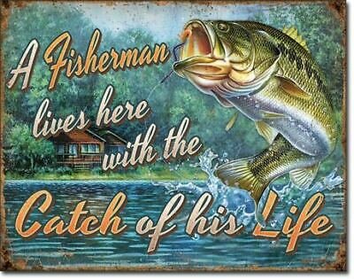 A Fisherman Lives Here ....Vintage Tin Metal Sign Garage/Man Cave Wall Art