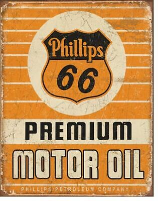Phillips 66 Premium Motor Oil Vintage Tin Metal Sign Garage/Man Cave Wall Art