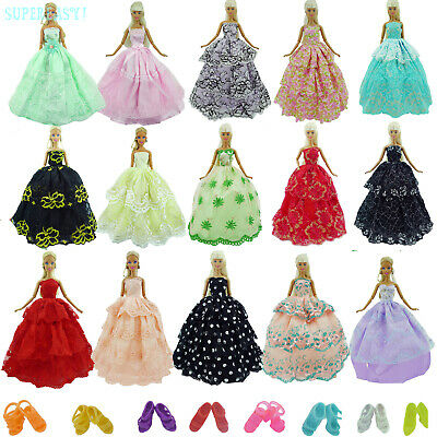 Random 5 Princess Wedding Party Dress Gown Clothes10 Shoes For Barbie Doll Toy G