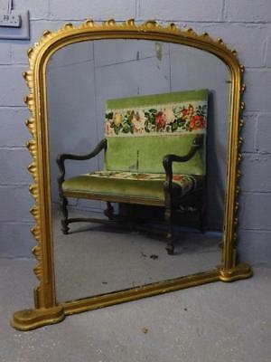 A Stunning Large Antique Arched Gilt Dressing Overmantle Wall Mirror-Industrial