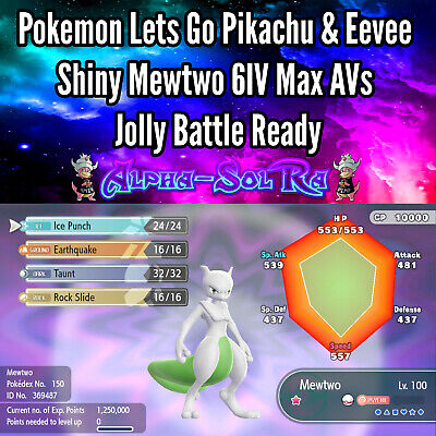 Pokemon Lets Go Pikachu & Eevee Shiny Mewtwo 6IV Max AVs Jolly Battle Ready