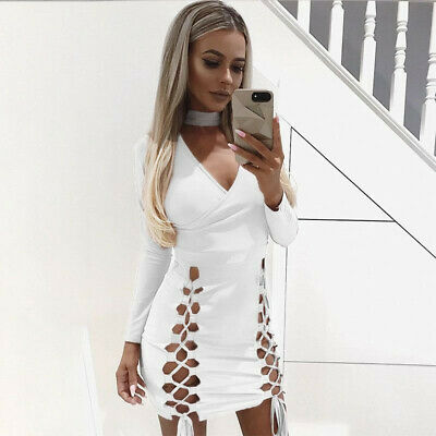 Ladies Fashion Lace Up Deep V-Neck Solid Color Slim Asymmetric Short Dress B
