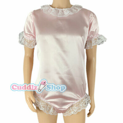 Cuddlz Pink or Blue Satin Sissy Adult Body Suit With Locking Zip Option