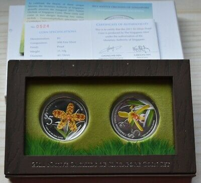 Singapore coin 2011 Native Orchids of Singapore 999 fine silver Proof $5 set