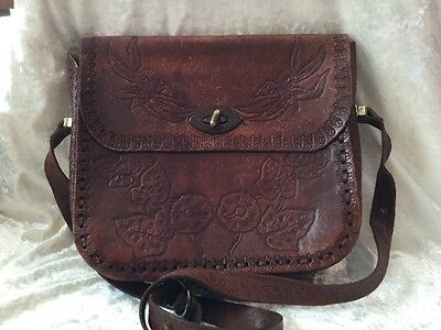 Vintage Boho Authentic Western Tooled Gumnuts Australiana Leather Shoulder Bag