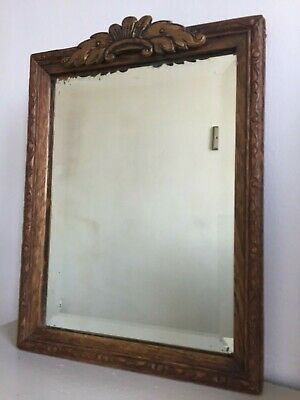 Small French Vintage Pediment Bevelled Mirror Wooden Original Foxed Glass m125