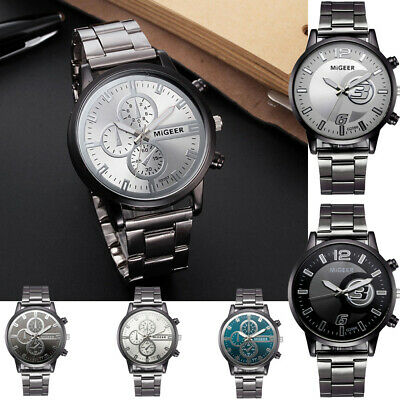 Fashion MIGEER  Man Crystal Stainless Steel Analog Quartz Alloy Wrist Watch US