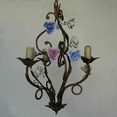 Antique Chandelier Ceiling Light Gilt Tole Porcelain Roses Flowers Capodimonte