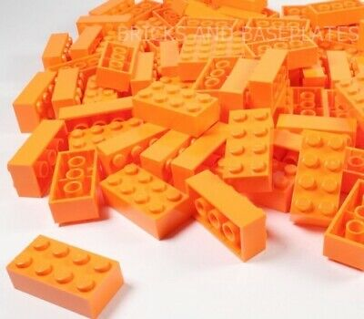 LEGO BRICKS 25 x ORANGE 2x4 Pin - From New Sets Sent in a Clear Sealed Bag
