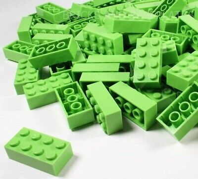 LEGO BRICKS 25 x LIME 2x4 Pin - From New Sets Sent in a Clear Sealed Bag