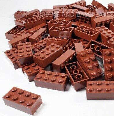 LEGO BRICKS 25 x BROWN 2x4 Pin - From New Sets Sent in a Clear Sealed Bag