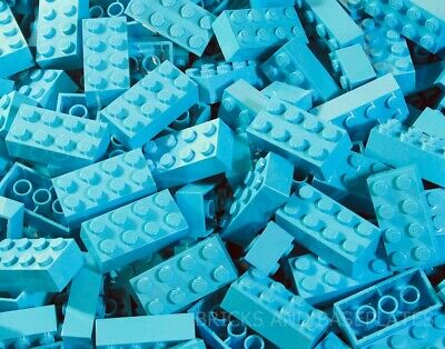 LEGO BRICKS 25 x MEDIUM AZURE 2x4 Pin - From New Sets Sent in a Clear Sealed Bag