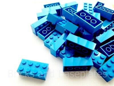 LEGO BRICKS 25 x DARK AZURE 2x4 Pin - From New Sets Sent in a Clear Sealed Bag