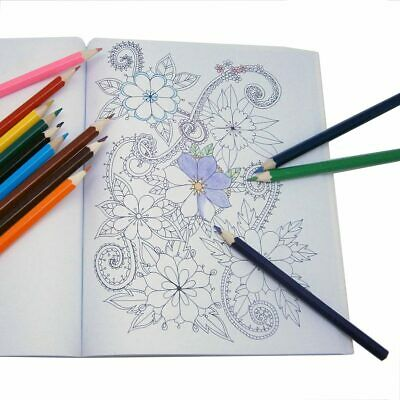 MINDFULNESS ADULT GROWN UPS COLOURING BOOKS PACK 3 BOOK SET 128 PAGES w/ PENCILS
