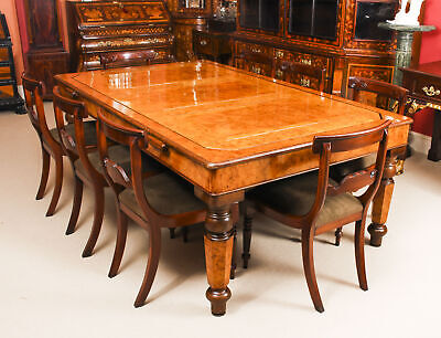Antique Victorian Pollard Oak Snooker / Dining Table  & 8 Chairs 19th C