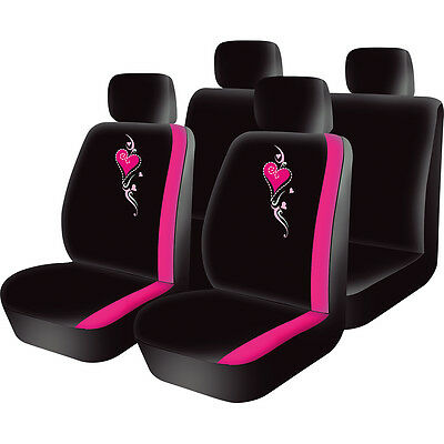 8pc PINK Love Knots girly girl Car Seat full Cover Set universal covers washable