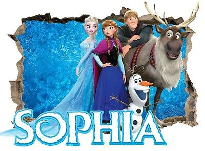 Personalised Any Name Frozen Wall Decal 3D Art Stickers Vinyl Room Bedroom 2