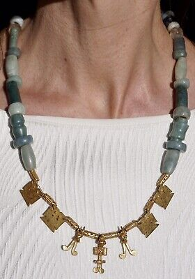 Pre Columbian Gold and Jade Nicoya Peninsula Pendant Necklace