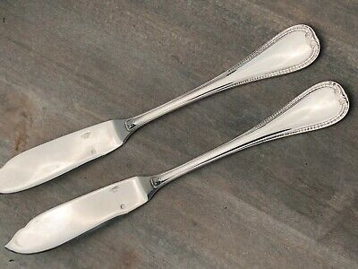 """Malmaison by Christofle France Silverplate pair of Fish or Dessert Knives 7 7/8"""""""