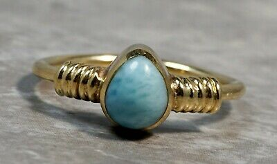 TED 18K Yellow Gold Persian Turquoise Coiled Ring