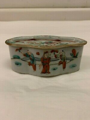 Antique Chinese Porcelain Famille Rose Covered Incense Box, 19th century