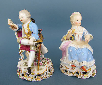 Antique Porcelain Meissen Pair of Child Rococo Figurines by Acier, circa 1860