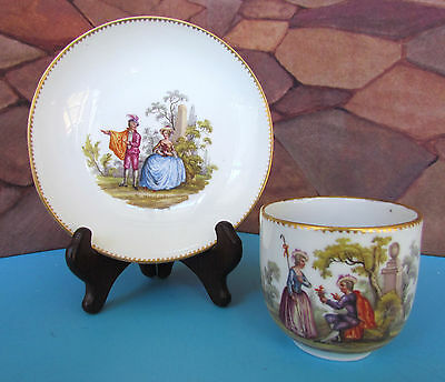 Antique Meissen Cup & Saucer Courting Scenes c. 1740-1814