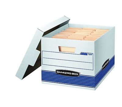 Bankers Box® Stor/File Medium-Duty Boxes,Letter/Legal Size, White/Blue, QTY12