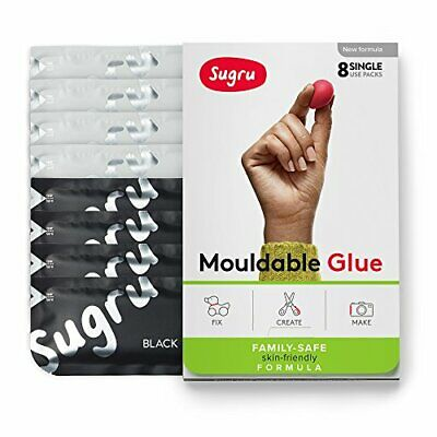 Sugru Moldable Glue - Family-Safe | Skin-Friendly Formula - Black & White 8-Pack