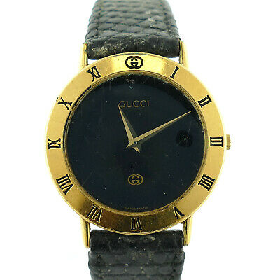 48566ef0f87 Gucci Gold Plated Quartz Black Dial Unisex Watch For Parts Or Repairs