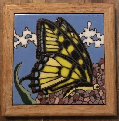 Monarch Butterfly Ceramic Tile Trivet by Pacific Blue Hand Painted Hot Plate