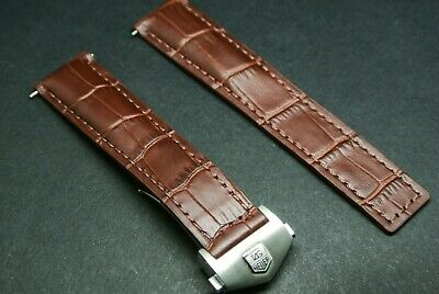 22MM GENUINE LEATHER BAND STRAP FOR TAG HEUER CARRERA 12 CALIBRE 16 GREY OS #3TC
