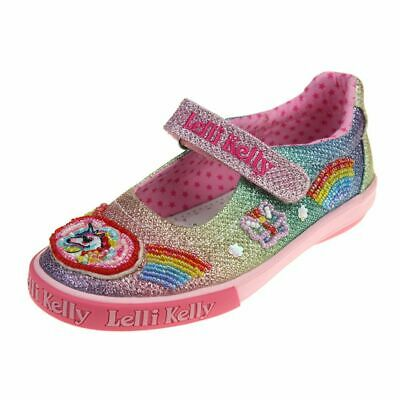 Lelli Kelly Rainbow Unicorn Multi Glitter Sparkle Dolly Shoe  EUR 22-33 LK1082