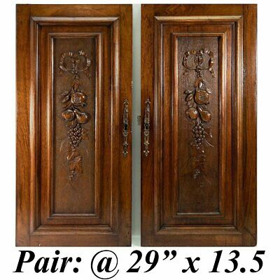 """Antique HC French Walnut Cabinet Door Pair (2), Fruit Carved, @ 29"""" x 13.5"""""""