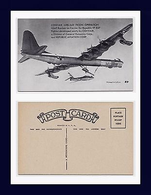 Us Air Force B-36D Ficon Operation Carrying F-84 Mutoscope Postcard Circa 1954