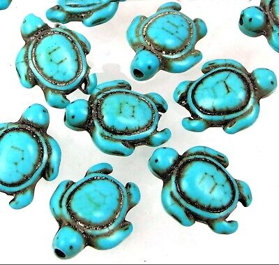 18x14mm Blue Turquoise Turtle Beads (12)