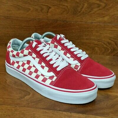 ffed0218ae0a8c VANS OLD SKOOL Primary Check (Men s Size 9) Skate Sneaker Shoes Red White -   45.99