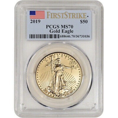 2019 American Gold Eagle 1 oz $50 - PCGS MS70 First Strike Flag Label