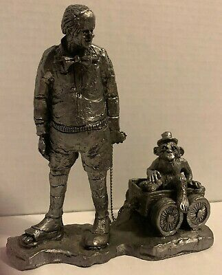 Michael Ricker Pewter Clown Pulling Cart With Chimp in Wagon Rare