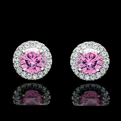 2CT Halo Pink Created Diamond Earrings 925 Sterling Silver