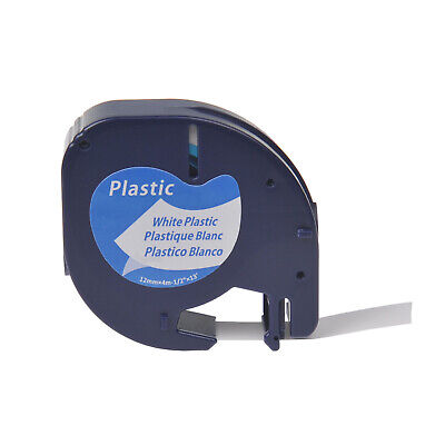 Plastic Label Tape for DYMO Letra Tag LT 91331 ( 91201 ) Black on White 12MM