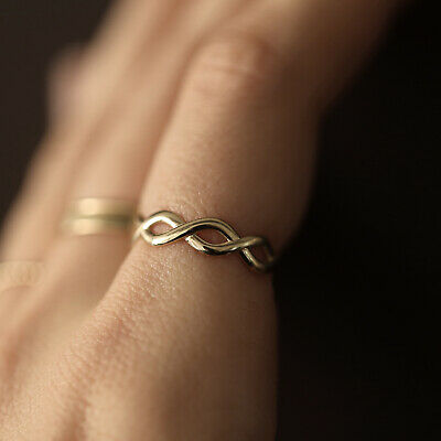 10K 14K Solid Gold Infinity Eternity Ring Band Twist Intertwined Stacking Ring