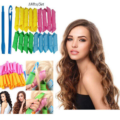 18Pcs 30cm+20cm Magic Long Hair Curlers Curl Formers Leverage Rollers Spiral US