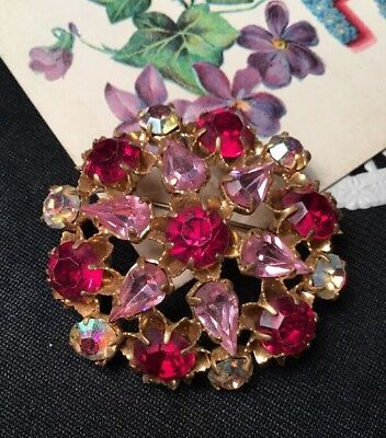 Vintage Art Deco 30s AB ruby red Czech Crystal Rolled Gold Round Flower Brooch