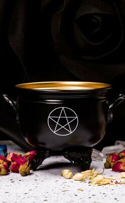 Wicca Witch Boho Black and Gold Pentacle Cauldron Black Outer White Pentagram