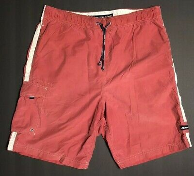 4da8b19ec6 Abercrombie & Fitch Tugger Cargo Swim Trunks Board Shorts Mens Medium M Red