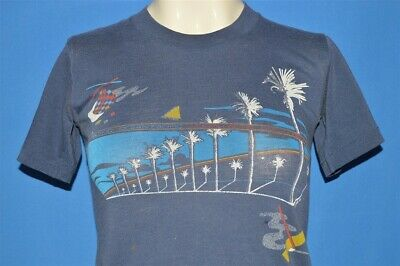 vintage 80s OP OCEAN PACIFIC GEOMETRIC PATTERN PALM TREE STRIPES t-shirt YOUTH L