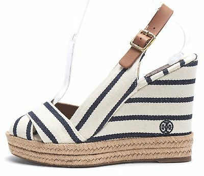 38fd8aac5ba5 TORY BURCH Ivory Navy Striped Canvas Slingback Espadrille Wedges Size 8.5 B