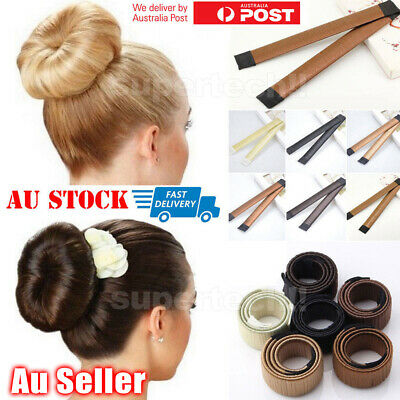 Women's Hair Bun Snap Styling Donut Former French Twist Band Hair Braiding Tool