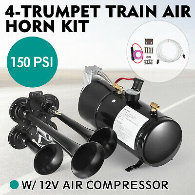 4Trumpet Train Luft Horn Kit mit 12V 150PSI Luft Kompressor 150dB+3L Tank Lokal
